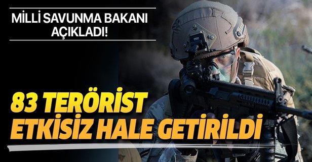 Pençe Operasyonları kapsamında 83 terörist öldürüldü