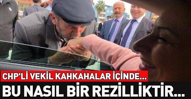 CHP'li Müzeyyen Şevkin yaşlı adama elini öptürdü