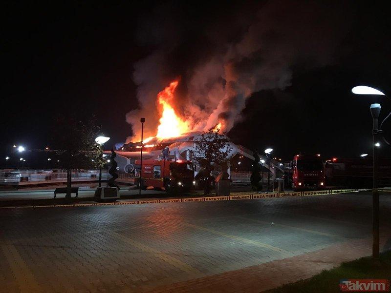 Konya'da Airbus A300 cayır cayır yandı