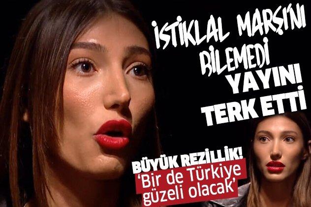 Miss Turkey güzeli İstiklal Marşı'nı bilemeyince yayını terk etti!