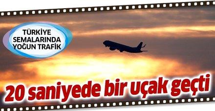 Türk hava sahasında yoğun trafik! Her 20 saniyede bir uçak geçti