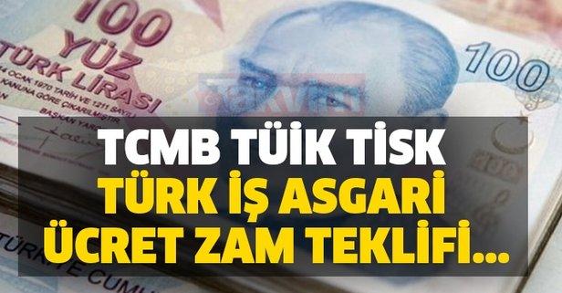 TCMB, TÜİK, TİSK, Türk İş asgari ücret zam teklifi...