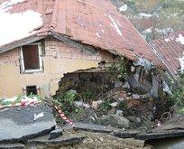 Beykoz'da yol evin üzerine çöktü!