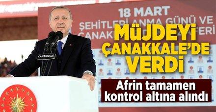 Cumhurbaşkanı Erdoğan Çanakkale'de duyurdu