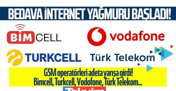 Bedava internet yağmuru! Bimcell, Turkcell, Vodafone...