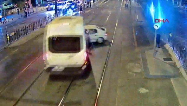 Fatih'te tramvay yolundaki feci kaza kamerada (Video)