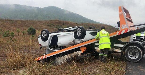 Vakıfbank teknik ekibini taşıyan araç şarampole uçtu