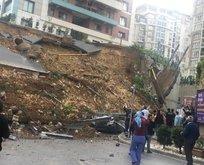 Başakşehir'de istinat duvar çöktü!