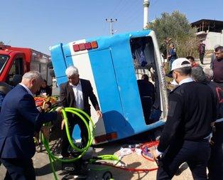 İşçileri taşıyan otobüs devrildi! Ölü ve yaralılar var