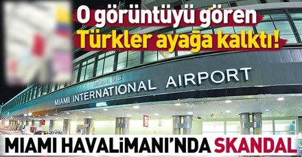 Miami Havalimanı'nda bayrak skandalı | Türk bayrağına benzemiyor!