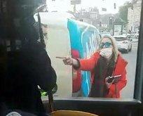 Çılgına dönen kadının halk otobüsüne saldırdı