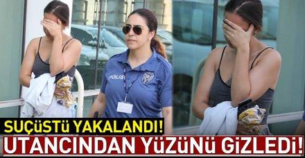 Mağazadan şort ve çanta çalan genç kız yakalandı