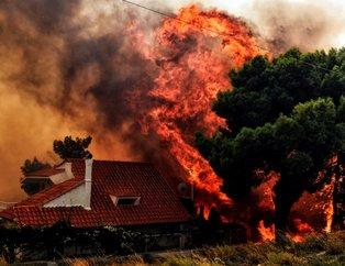 Yunanistandaki yangın felaketinde dehşete düşüren kareler