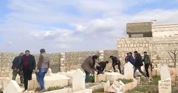Esed rejimi mezarlıkları da yıkıyor!
