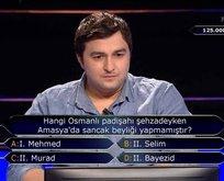 Milyoner'de geceye damga vuran 'Osmanlı' sorusu