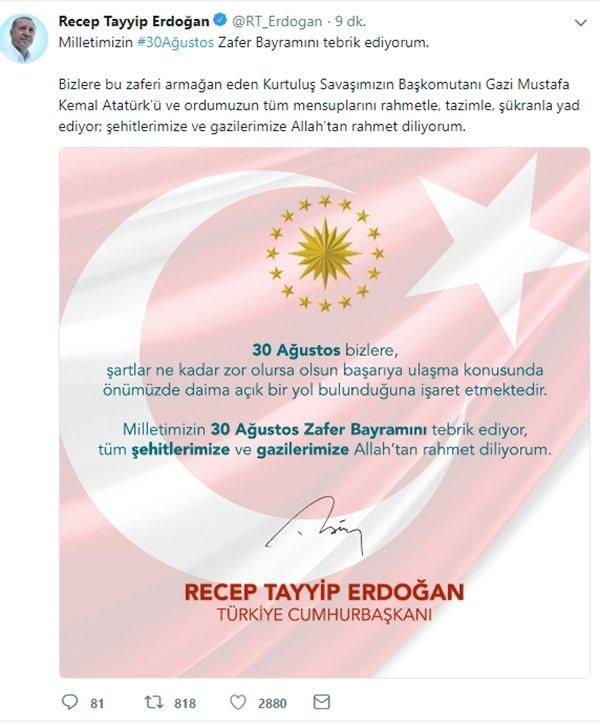 Başkan Erdoğandan 30 Ağustos Mesajı Takvim 30 Ağustos 2018