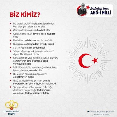 Cumhurbaşkanı Erdoğan'dan Ahd-i Milli