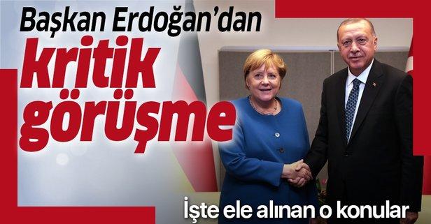 Başkan Erdoğan ile Merkel'den kritik görüşme