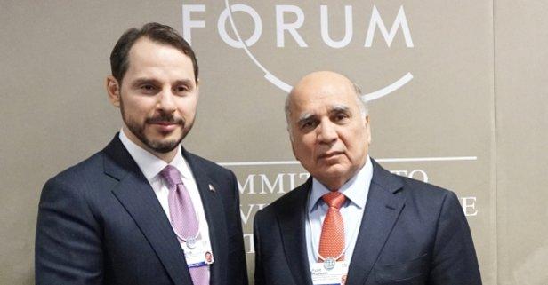 Bakan Albayrak, Davos'ta Fuad Hüseyin ile görüştü