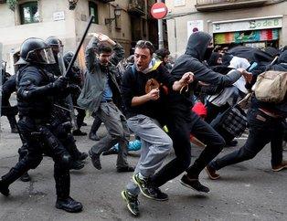 Barselona alev aldı! Ayrılıkçı Katalanlar polisle çatıştı