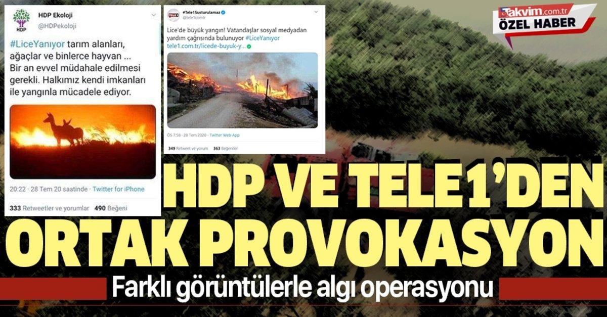 HDP ve Tele1'den Lice'deki yangında ortak provokasyon! Farklı görüntülerle algı operasyonu - Takvim