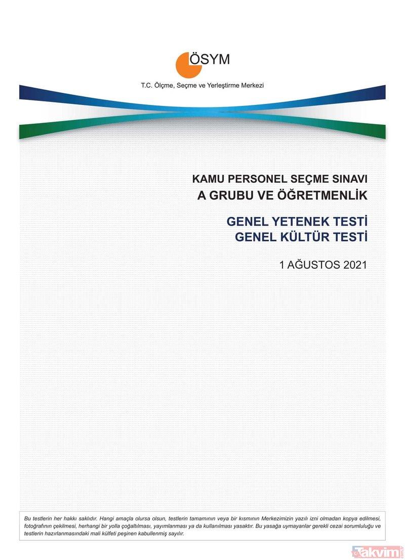 2021 KPSS soru kitapçığı ve cevap anahtarı | A Grubu ve Öğretmenlik GY-GK- Eğitim Bilimleri soruları