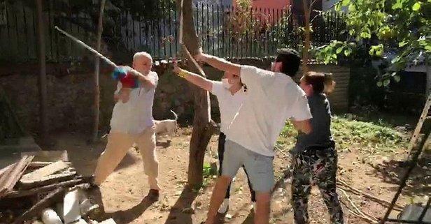 Komşular arasında kavga kamerada