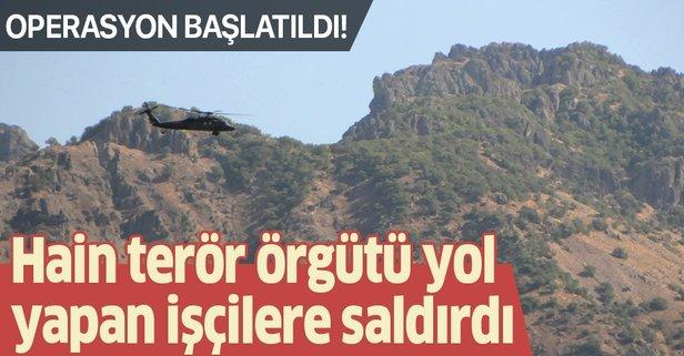 Tunceli'de teröristler yol yapan işçilere saldırdı