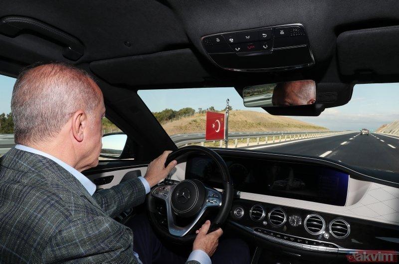 Başkan Erdoğan İstanbul-İzmir Otoyolu'nda ilk sürüşü gerçekleştirdi