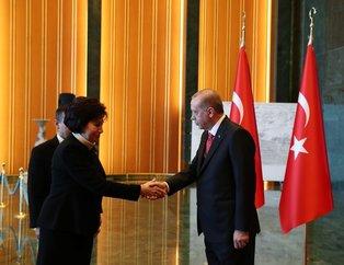 Başkan Erdoğan, Külliyede tebrikleri kabul etti! İşte Erdoğanın arkasındaki panonun hikayesi