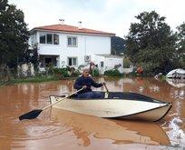 Datça'da şiddetli yağmur hayatı felç etti!