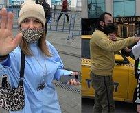 Taksim'de turist polise saldırdı! Taksi şoförü çileden çıktı
