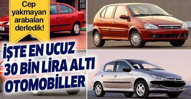 30 bin liradan ucuz sahibinden araç marka ve modeller!