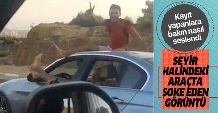 Antalya'da seyir halindeki otomobilde 'pes' dedirten görüntüler! Sosyal medyada büyük tepki çekti