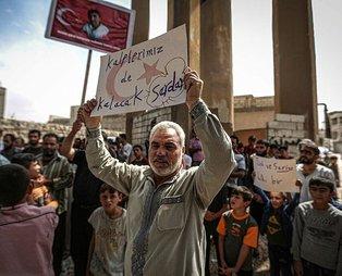 İdlib halkı Türkiye için sokaklara döküldü!