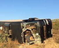 Eskişehir'de yolcu otobüsü şarampole devrildi