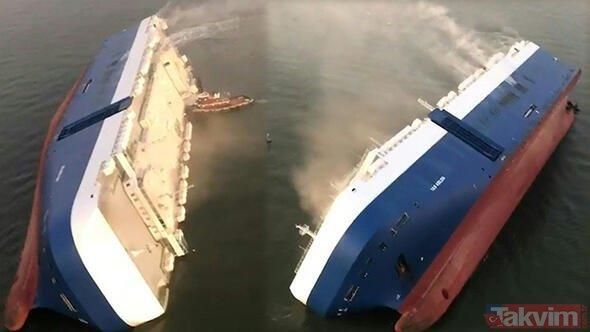 Otomobil devine büyük şok! Ünlü otomobil firmasının kargo gemisi sulara gömüldü!