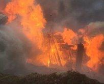Rize'de korkutan yangın! Alevler etrafı sardı