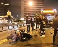 Mecidiyeköy'de feci kaza! Metrobüsle motosiklet...