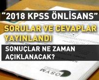 KPSS önlisans soru ve cevapları yayınlandı