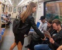 Metrodaki erkeklerin bacak aralarına çamaşır suyu döktü!
