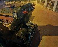 Akılalmaz kaza: Otoparka düşen otomobil dik durdu