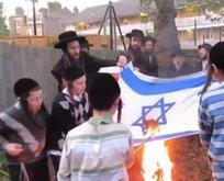 Yahudiler İsrail bayrağını yaktı