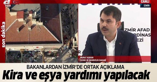 SON DAKİKA: Bakanlar deprem bölgesi İzmir'de önemli açıklamalar