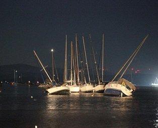 SON DAKİKA İZMİR DEPREM: 6.6'lık deprem sonrası tsunami yaşayan İzmir'den gece yarısı korkutan görüntü