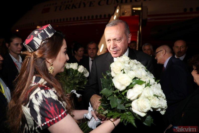 Başkan Erdoğan Tacikistan'da böyle karşılandı