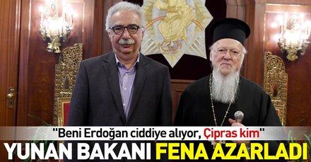 Yunan Bakanı azarlayan Patrikten Erdoğanlı tepki