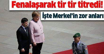Angela Merkel Ukrayna'da resmi tören sırasında fenalaştı