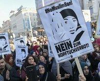 Brüksel'de başörtüsü yasağı protestosu edildi