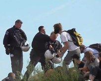 Alman polisinin çevrecilerle kavgası kameralara böyle yansıdı